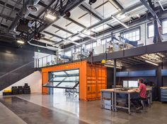 Autodesk Robotics Lab Brainstorms in a Shipping Container des. - Autodesk Robotics Lab Brainstorms in a Shipping Container design software compan - Garage House, Garage Loft, Man Cave Garage, Garage Office, Steel Garage, Garage Shelving, Loft Mezzanine, Mezzanine Design, Warehouse Home