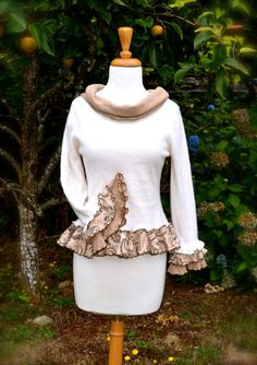 Cashmere Pullover Sweater with Ruffles Natural Mori Girl Neutral Tones Tan and White Upcycled Pixie Elf Fall w Cowl Neck Soft Women's Small. $85.00, via Etsy.