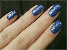 Beautiful mermaid stamping nail. Gorgeous blue!