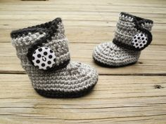 Crochet Baby Booties  Baby Boots  Black and Grey by Raspberriez
