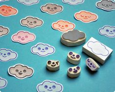 Hand carved rubber stamps for clouds lovers by Memi The Rainbow, via Flickr