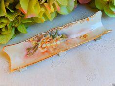 Antique Limoges Hand Painted Artist Signed Pen Pencil Holder Floral Gold Gild #Limoges