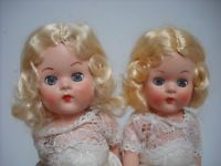 PAIR TWIN RODDY 1960s DOLLS IN ORIGINAL FAERIE GLEN DRESSES. LIKE MISS ROSEBUD
