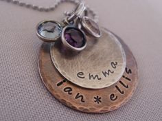 Rustic Mixed Metal Two Disc Necklace