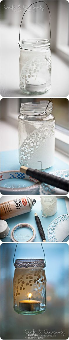 CRAFT: make a votive holder from a jar. spray paint over a paper doily to reveal a lace pattern. would be cute with frosted glass paint. Diy Projects To Try, Crafts To Do, Craft Projects, Crafts For Kids, Arts And Crafts, Craft Ideas, Mason Jar Crafts, Mason Jar Diy, Bottles And Jars