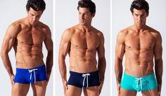 boxer de bain contrast Code 22/2016  en marine, bleu, turquoise  larges bandes latérales contrastées http://www.reservoir-mode.com/boutique/code-22-sous-vetement-maillot-bain-homme-m-61.html