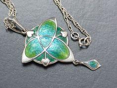 exquisite art nouveau silver & enamel pendant by schaverien & eastmead