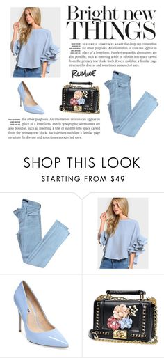 """romwe blue"" by letsgetloud ❤ liked on Polyvore featuring J Brand and Steve Madden"