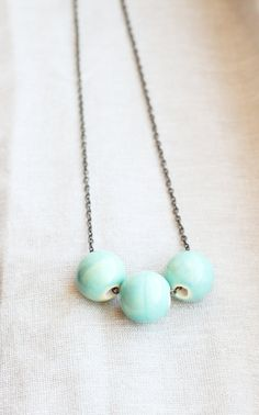 Sea Spray Ceramic Bead Necklace by SweetAuburnStudio on Etsy, $20.00