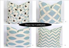 Pillows - adding a touch of blue  Blue PillowsChoose Any Combination18x18 InchFree by ElemenOPillows