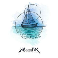 Geometric Sailboat watercolor tattoo design