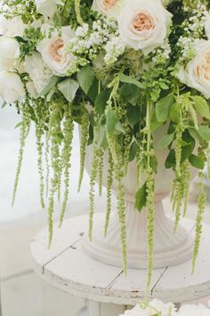 16 Stunning Summer Wedding Flowers---Green amaranthus, white and white roses wedding decorations for outdoor wedding reception Wedding Reception Flowers, Rose Wedding, Floral Wedding, Woodsy Wedding, Summer Flowers, White Flowers, Beautiful Flowers, French Flowers, Green Flowers
