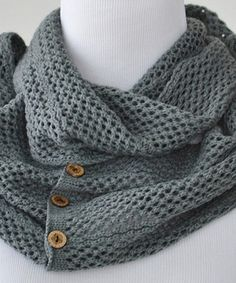 Another great find on #zulily! Dark Gray Button Infinity Scarf by PeekABootSocks #zulilyfinds