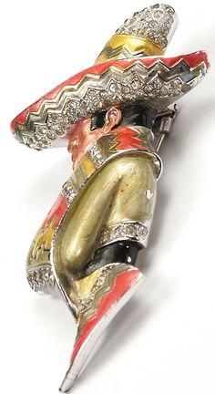 MB Boucher Metallic Enamel Mexican in a Sombrero Pin Clip