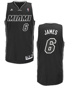 Miami HEAT LeBron James Authentic Black and White Jersey