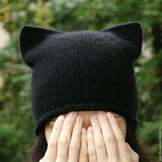 Купить Вязаная женская шапка-кошка, шапка с ушками, котошапка для девушки - шапка вязаная