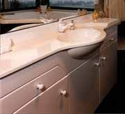 This vanity has a slim top and semi recessed basin allowing for more room in the bathroom.