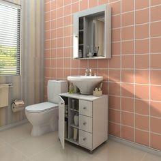 Balcão com Painel para Banheiro 3 gavetas Branco - Politorno