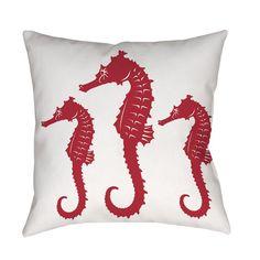 Red White Nautical Seahorse Throw Pillow