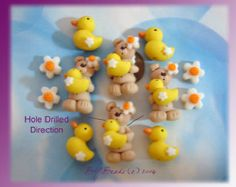 Easter Bunny with Egg Polymer Clay Charm Bead by RainbowDayHappy