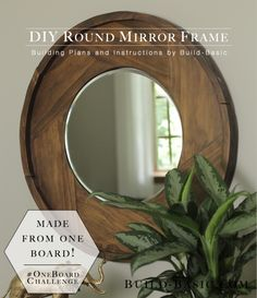 Build a DIY Round Mirror Frame - Building Plans by @BuildBasic www.build-basic.com #oneboardchallenge