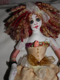 Fabric Art Doll OOAK Handmade by sherimusum on Etsy, $85.00