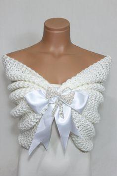 Blanco de la boda chal mantón de novia novia estola chal por Arzus