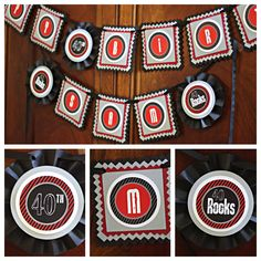 Modern and Masculine 40 Rocks / Guitar  Happy Birthday Banner. Black / Grey/ Red. Any Age. Customizable. by CharmingTouchParties on Etsy