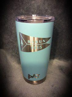 Calcutta 20 oz. mug coated with Duracoat Turquoise with custom logo.