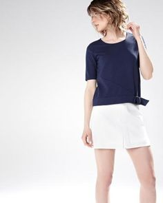 Cropped t-shirt with belted waist