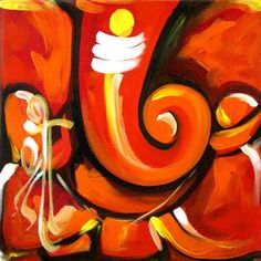 Ganesh Vandana 9 - Handpainted Art Painting - X Lord Ganesha Paintings, Ganesha Art, Ganesha Drawing, Sri Ganesh, Ganpati Drawing, Ganapati Decoration, Large Art Prints, Oil Pastel Art, Abstract Canvas