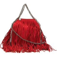 Stella McCartney 'Falabella' fringed tote (1,980 CAD) ❤ liked on Polyvore featuring bags, handbags, tote bags, red, red leather tote, leather fringe purse, leather purse, genuine leather tote and leather tote bags