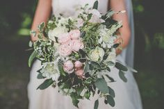 Bouquet Flowers Bride Bridal Rose Pink Ivory Greenery Foliage Chilled Stylish Countryside Wedding http://mementophotography.ie/
