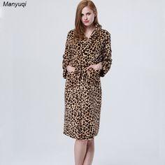 women's leopard bathrobes luxurious style long robes for women comfortable homewea  #Affiliate