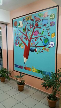 wall painting for play school School Wall Decoration, Fall Classroom Decorations, Classroom Wall Decor, Classroom Walls, School Decorations, Kids Wall Murals, Murals For Kids, Mural Art, Colegio Ideas