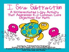 $2.50    This I-Spy subtraction activity is tiered meet the various readiness levels of your students and also addresses Common Core Standards in Math for K-2.