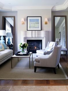 Apartment Living Room Decor With Fireplace Mirror 50 Ideas Brown Couch Living Room, Living Room With Fireplace, Living Room Grey, Living Room Decor, Living Rooms, Living Room Mirrors, Living Room Flooring, Light Brown Couch, Fireplace Mirror