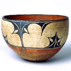 Ceramic bowl red, white and black slip