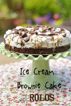 Ice Cream Brownie Cake with Rolos  -  http://thirtyhandmadedays.com/2012/06/ice-cream-brownie-cake-rolos/#