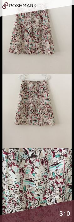 "Ladies Pretty Patterned Skirt - Size 10 Picturesque patterns of Verandas and Flowers. Main colors are burgundy, brown and cream. Reminds me of Italy...100% Linen - Side zipper Length: 24"" Waist: 26 1/2"".      Smoke Free Home Merona Skirts Midi"