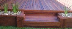 Merbau deck with planter