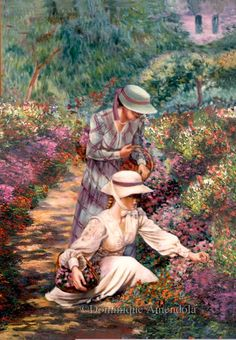 Picking flowers in Monet's garden. Oil painting by Dominique Amendola. Pierre Auguste Renoir, Claude Monet, Artist Monet, Monet Paintings, Mary Cassatt, Edgar Degas, Impressionist Paintings, Famous Art, Figure Painting