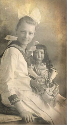 With a doll