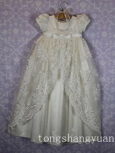 Vintage Lace Infant Girls Christening Gown Toddler Baptism Dress White Ivory New