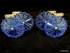 4 Antique Blue Glass Floral Rosette Curtain Tie Backs 2 Pairs