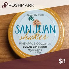 New POSH Lip Scrub New Sealed San Juan shaker pineapple Coconut sugar Lip Scrub by Perfectly POSH Smooth over lips to reveal supple sexy lips Amazing effects Perfectly Posh Makeup