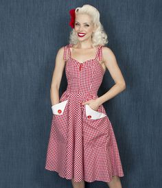 The Trashy Diva Lucy Dress in Red Gingham shows off your vintage charm! #trashydivalucydress #trashydivagingham