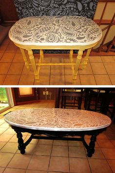How beautiful are these #DIY #PaisleyAllover #stenciled tabletops by #CuttingEdgeStencils?    http://blog.cuttingedgestencils.com/painting-ideas-with-stencils-diy-paisley-tabletop.html
