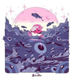 Studio Ghibli fan art by Gastón Pacheco Studio Ghibli Poster, Studio Ghibli Art, Studio Ghibli Movies, Hayao Miyazaki, Totoro, Girls Anime, Animes Wallpapers, Aesthetic Anime, Art Inspo