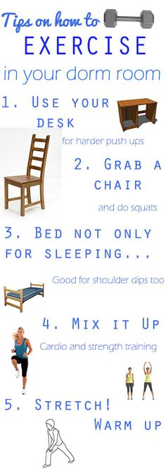 tips for working out in your dorm room to avoid the freshmen 15!